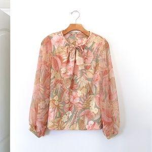 Vtg 70s Boho Floral Chiffon Puff Sleeve Blouse M